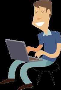 guy typing on laptop