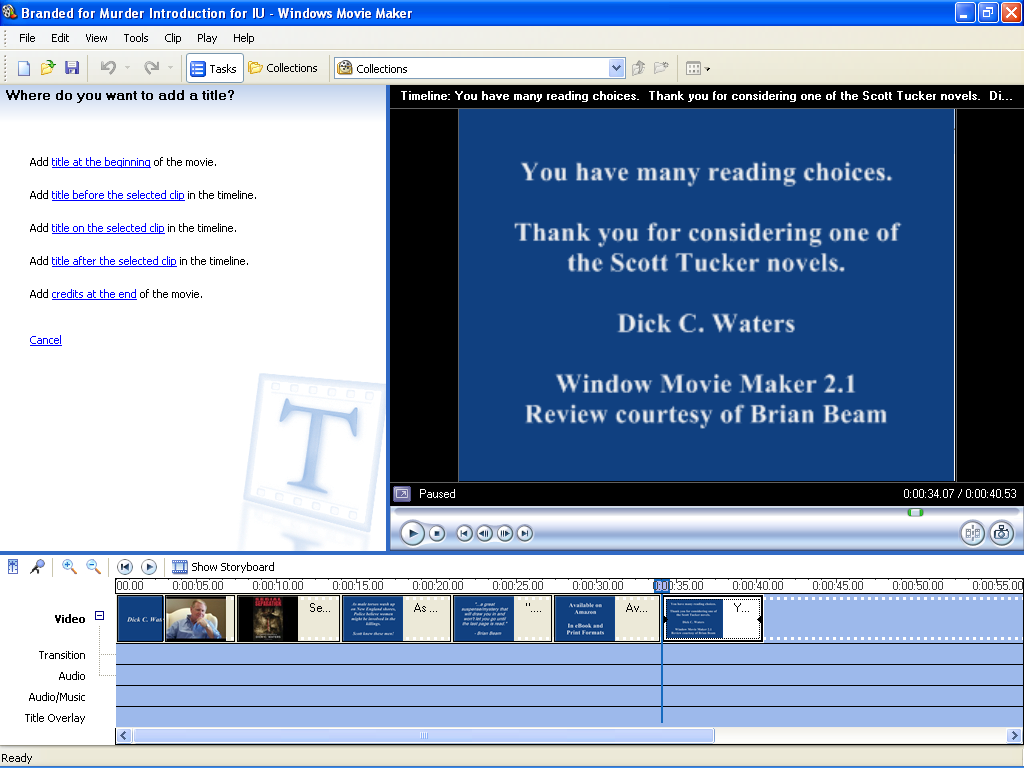 Making A Book Trailer With Windows Movie Maker Step 2