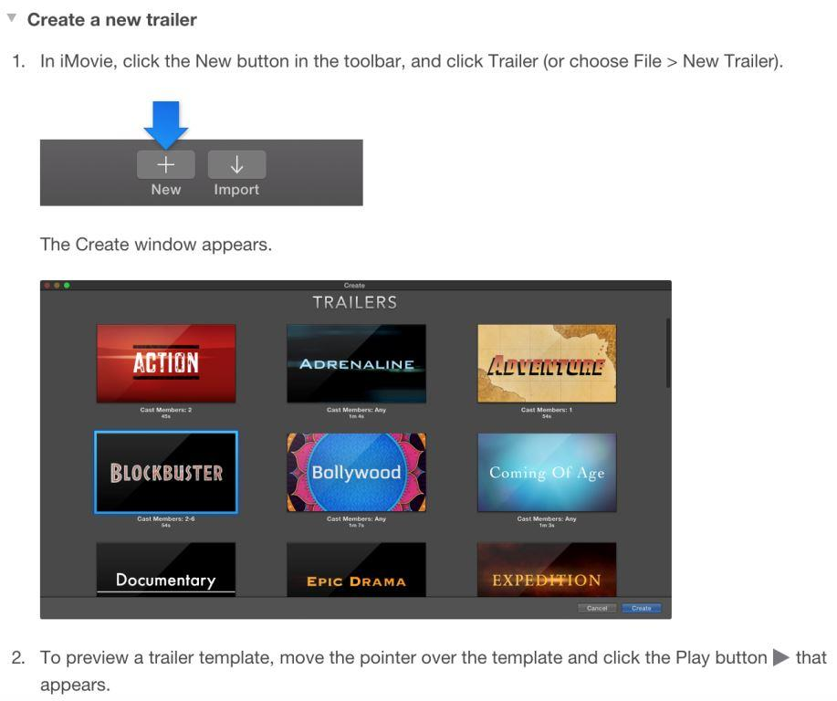 2 create imovie trailer