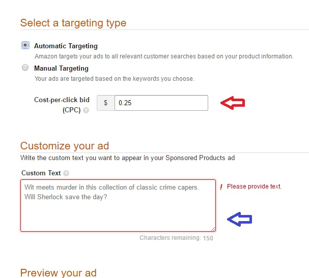 Amazon Marketing Services Sponsored set-up 2 Automatic targeting