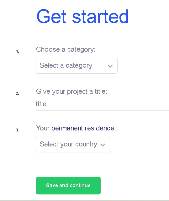 kickstarter screen 1 - Get Started