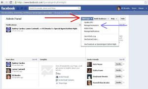 Facebook author page admin panel