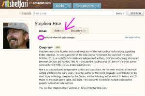 Hise Author Page on Shelfari