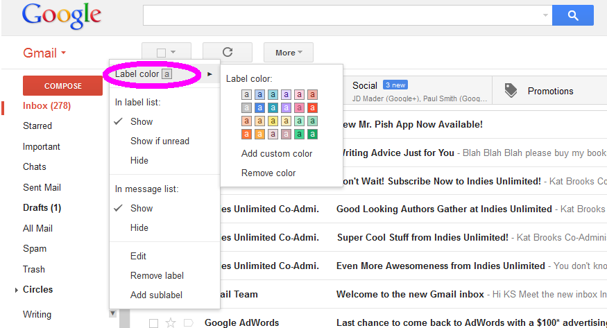 How to Make a Folder (Label) in Gmail – Indies Unlimited