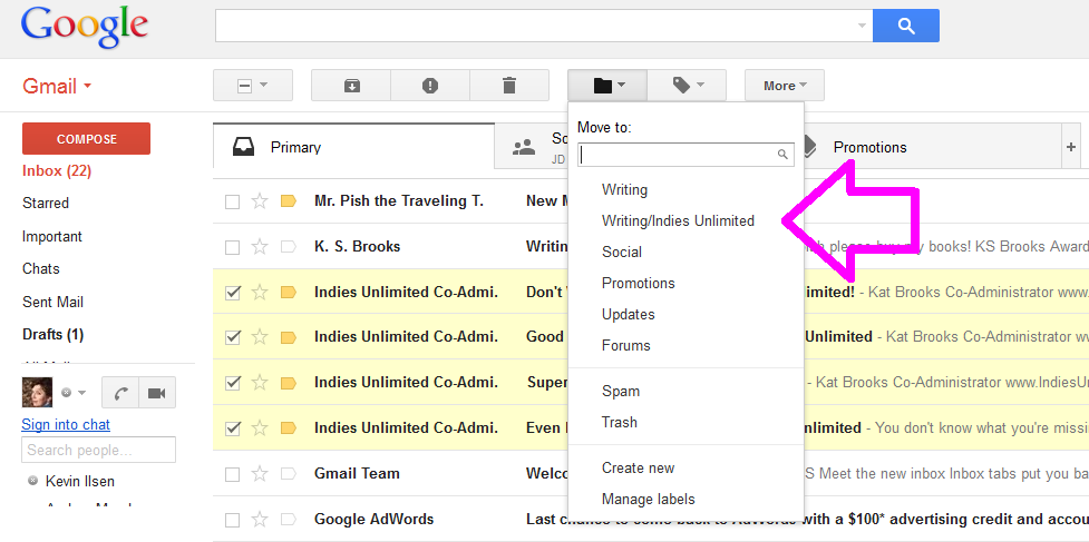 how to create a subfolder in gmail