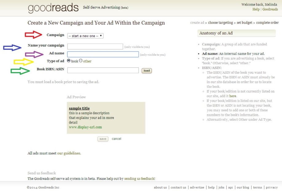 goodreads create a campaign