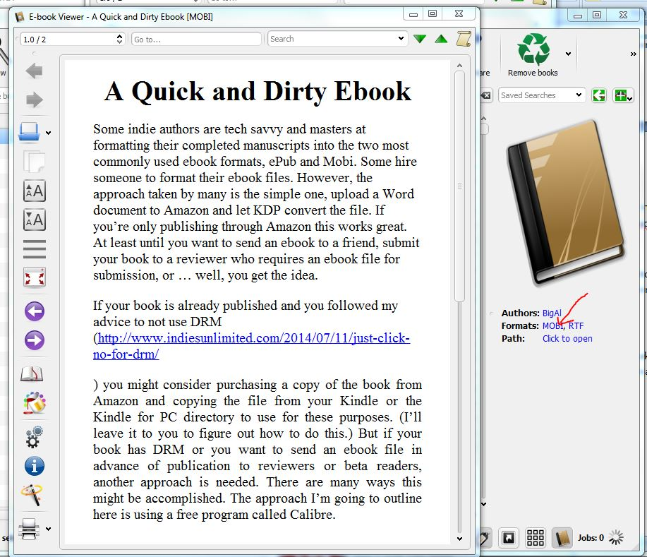 How to Convert Your E-Book to a Mobi format using Calibre
