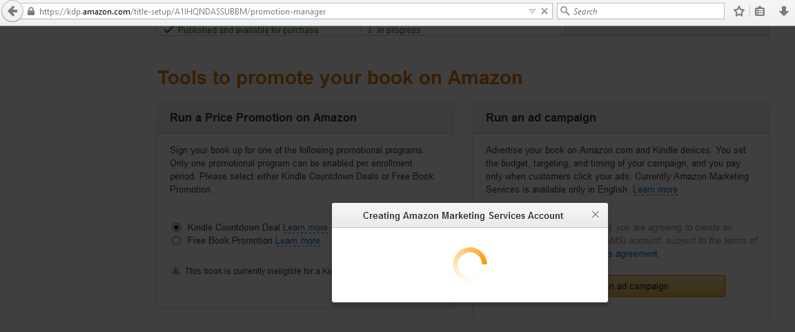 Amazon creating advertising services account