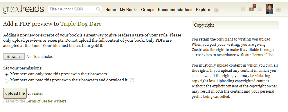The Goodreads Preview Feature | Celebrating Independent Authors