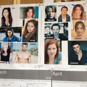 Melissa Pearl's characters on her writing wall