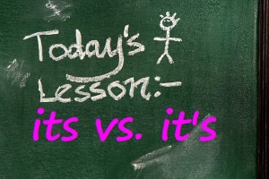 its vs its todays lesson chalkboard