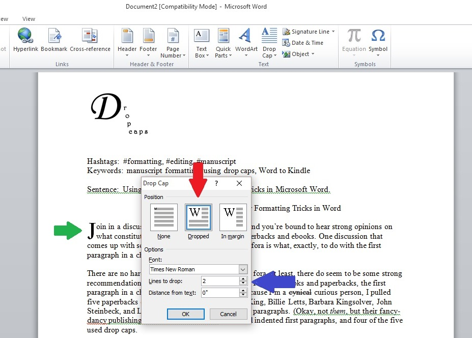 Drop Caps Indents And Other Formatting Tricks In Word Indies