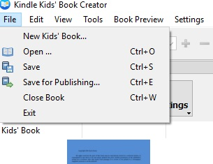 Kindle Kids' Book Creator save for publishing