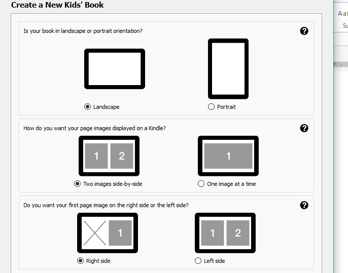 Kindle Kids' Book Creator book orientation