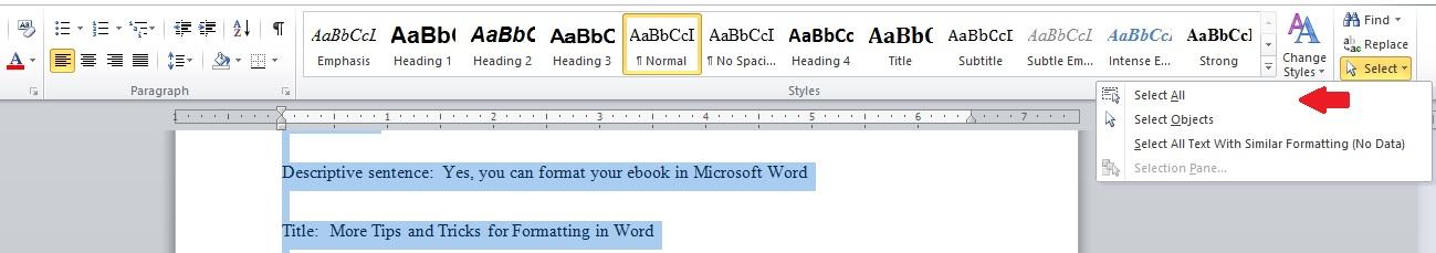Word formatting 1 for ebooks