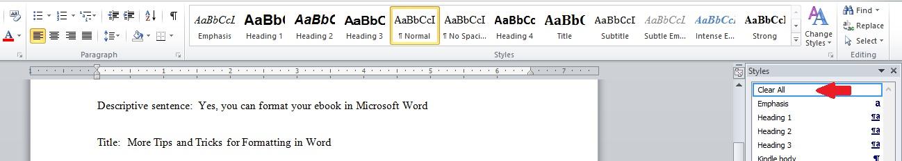 Word formatting 2 for ebooks