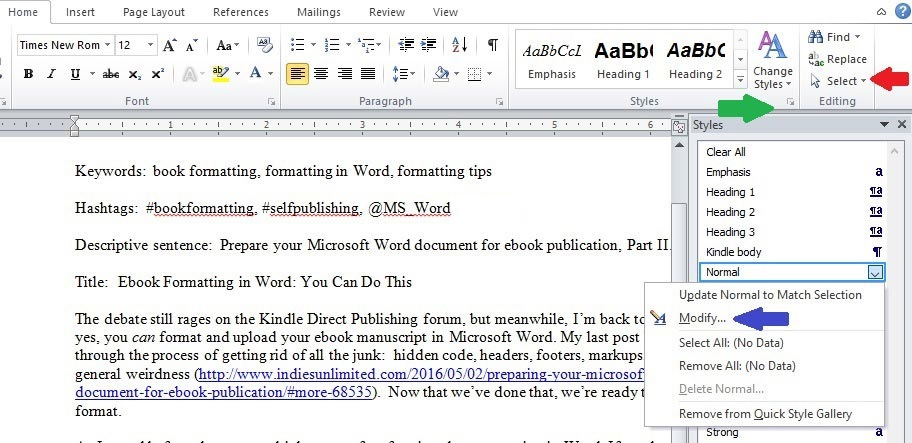 how to get rid of formatting in word