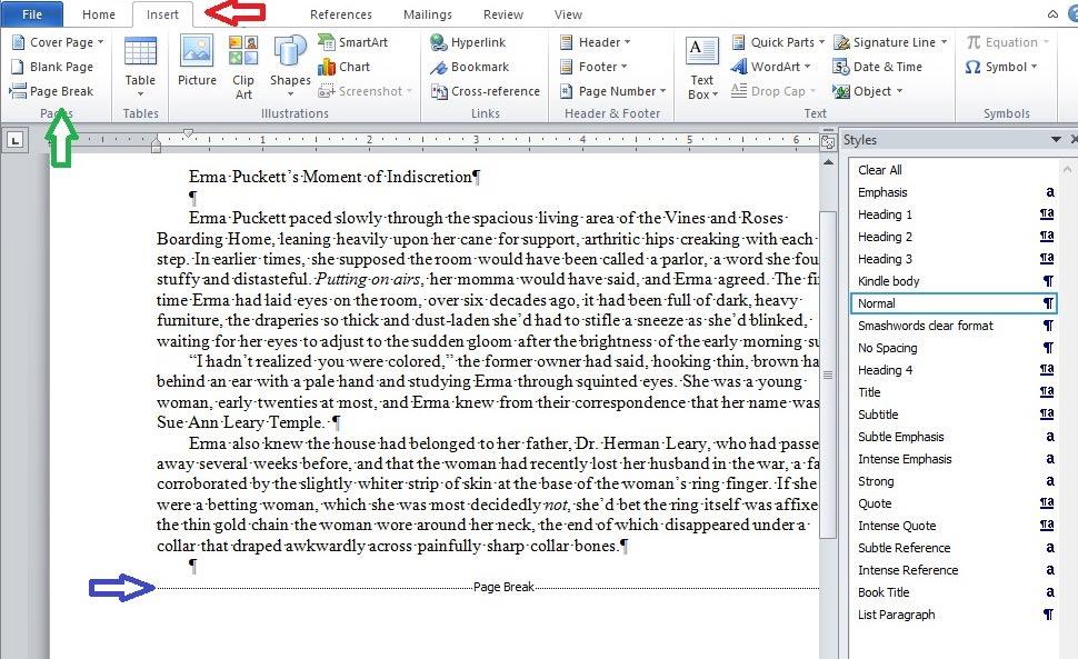 Word-5 page break