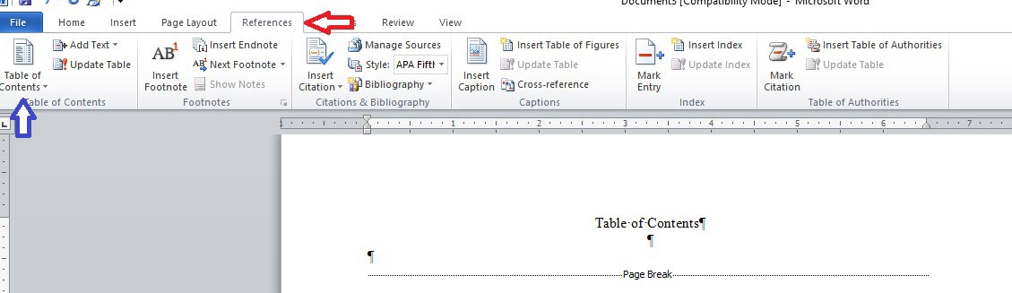 Word-8 table of contents