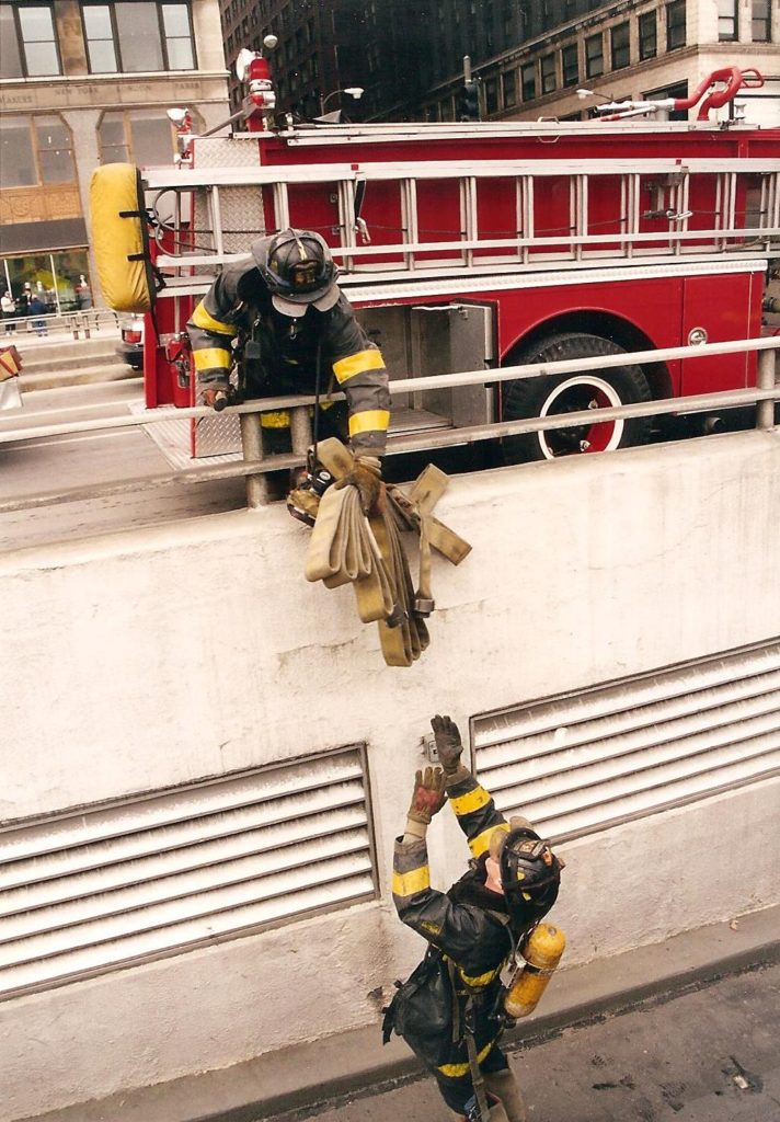 flash fiction writing prompt chicago 1996 firemen garage