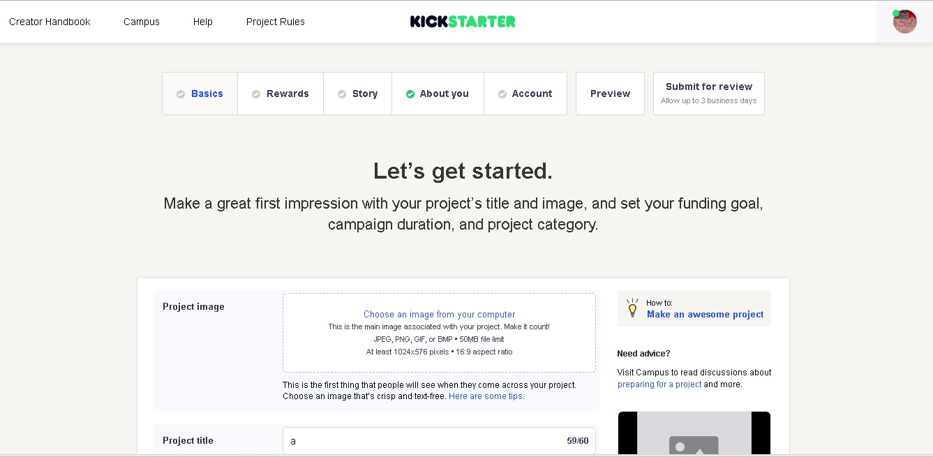 kickstarter screen 2 - Main Screen Layout
