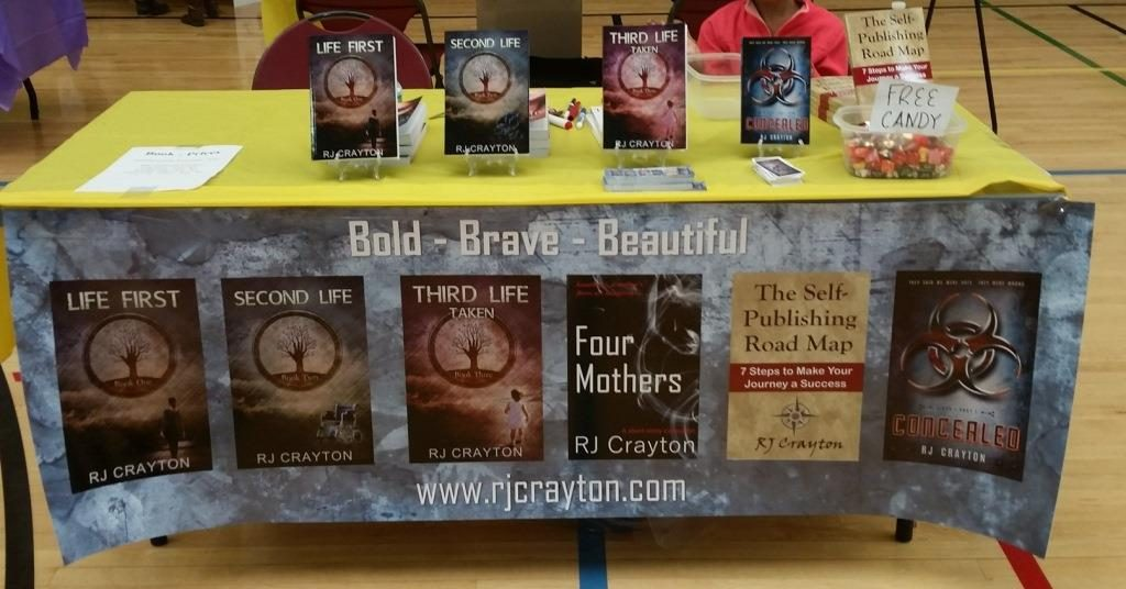author banner and bookfairdisplay