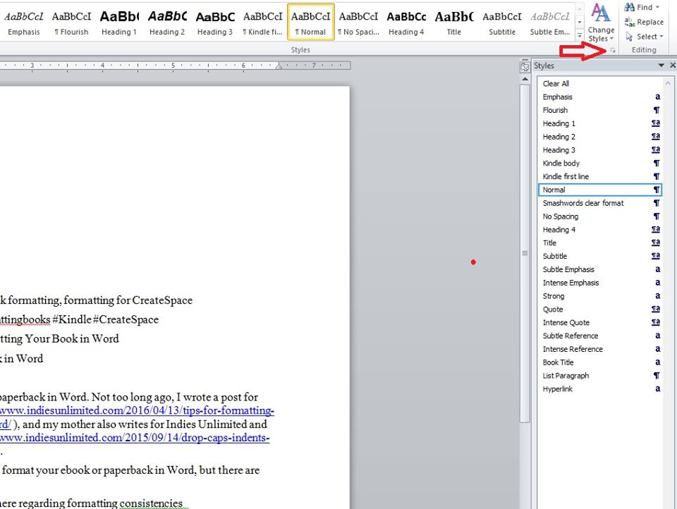 styles in ms word for book formatting