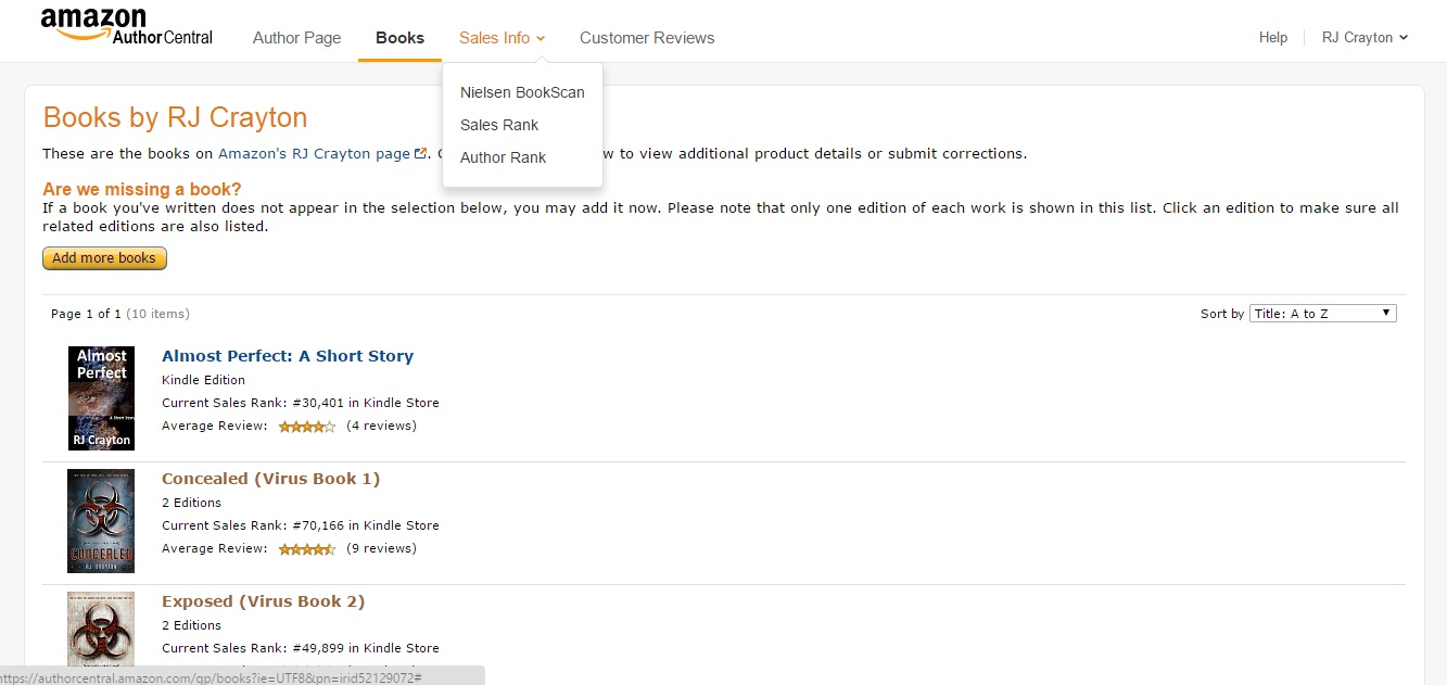 Amazon Author Central AC10_SalesDataDropDown