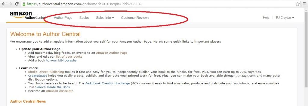 Amazon Author Central AC2_Menu